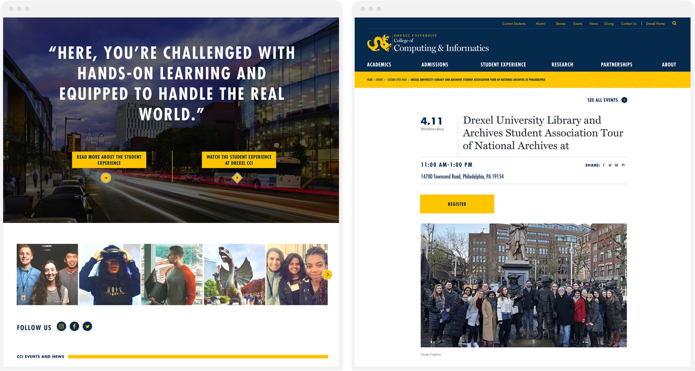 side-by-side sccreenshots of the site with hands-on learning and events page