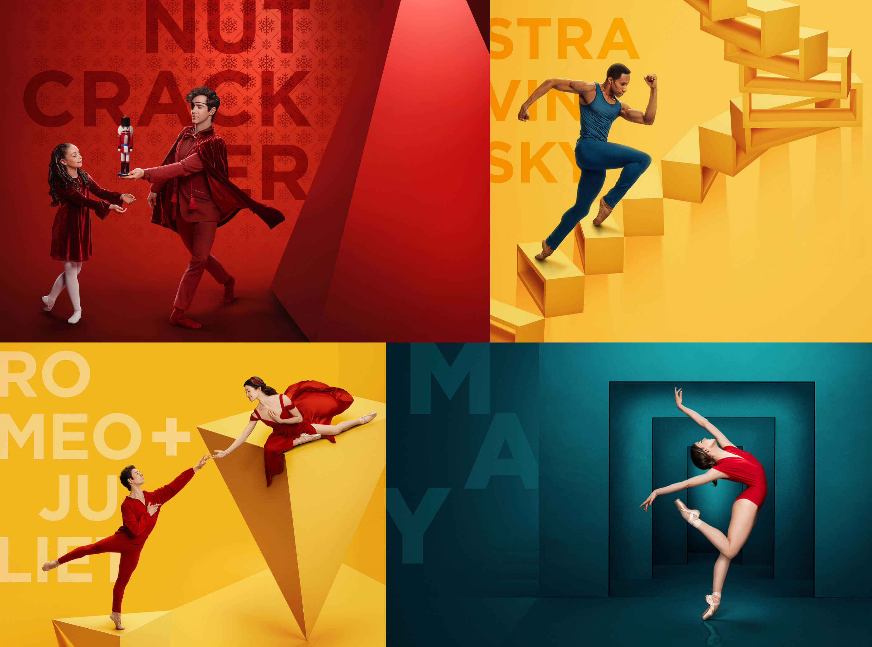 grid of images for The Nutcracker, Stravinsky, Romeo + Juliet, and May