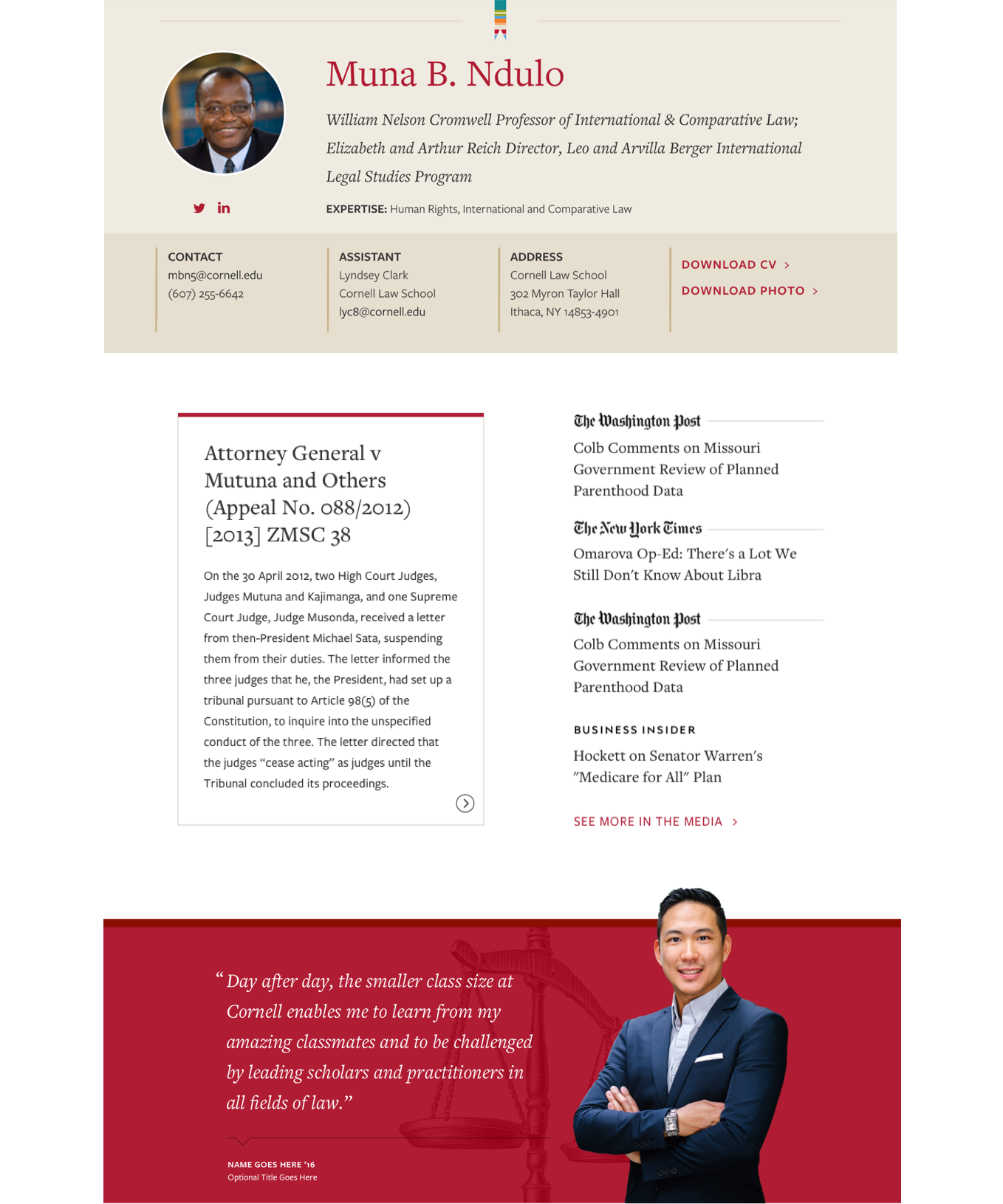 Detailed look at Cornell Law faculty features