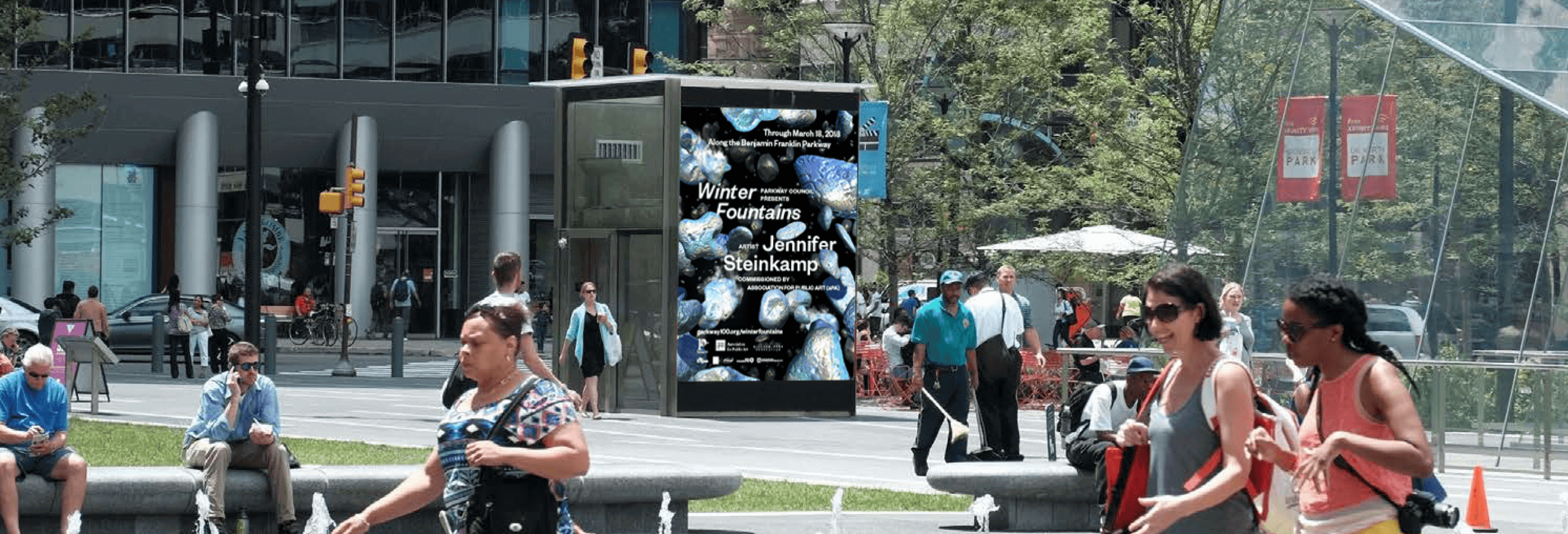 digital display in Dilworth Park