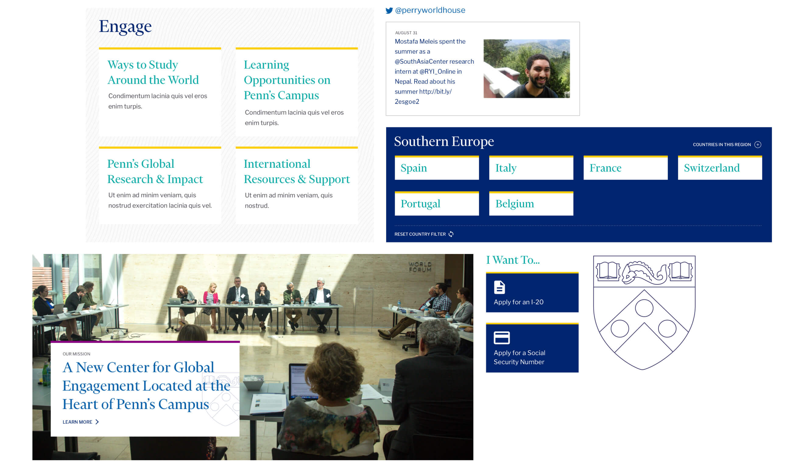 parts of the Penn Global website
