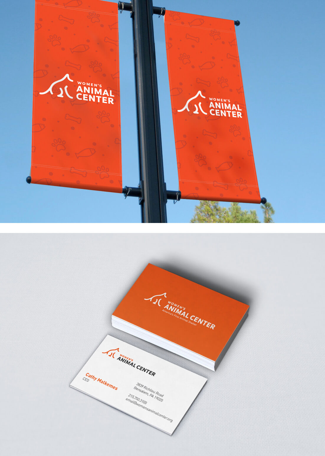 banner and business card with WAC logo